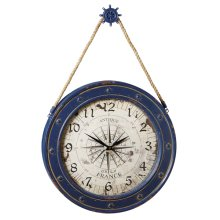 Compass Wall Clock with Ship Wheel Hook