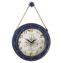 Compass Wall Clock with Ship Wheel Hook