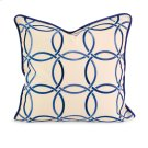 IK Catina Blue Embroidered Linen Pillow w/ Down Fill Product Image
