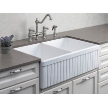 """Biscuit 32"""" Fluted Double Bowl Fireclay Farmhouse Kitchen Sink"""