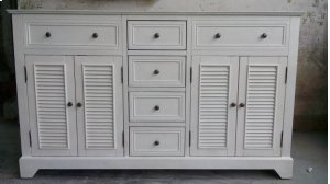 """Cottage White 4 Louvered Doors / 4 Drawers 60"""" Double Vanity Sink Product Image"""