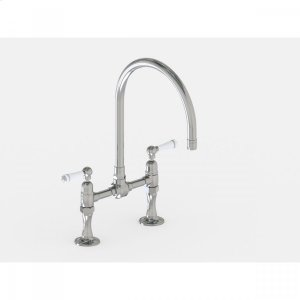 """Brushed Stainless - Deck Mount 10"""" Swivel Spout with White Ceramic Lever Product Image"""