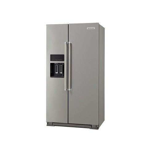 19.9 cu ft. Counter-Depth Side-by-Side Refrigerator with Exterior Ice and Water and PrintShield™ finish - Stainless Steel with PrintShield™ Finish