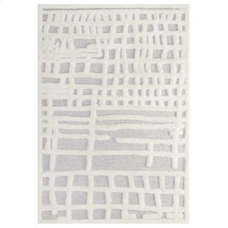 Whimsical Ladder Abstract Plaid Lattice 5x8 Shag Area Rug in Ivory and Light Gray