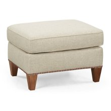 Buckingham Bleached Walnut Ottoman, Upholstered in Mereimac