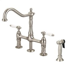 Emral Kitchen Bridge Faucet with Porcelain Lever Handles - Brushed Nickel