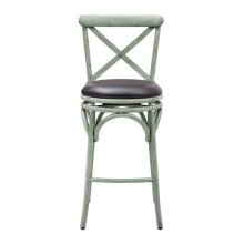 X Back Metal Swivel Leather Barstool