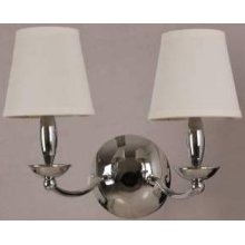 2-lite Wall Lamp, Chrome/white Fabric Shade, E12 B 40wx2