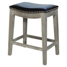 Elmo Bonded Leather Counter Stool Mystique Gray Frame, Black