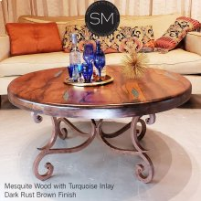 Mesquite Wood Round Coffee Table