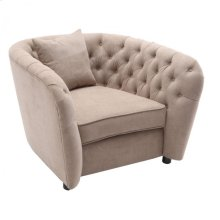 Armen Living Rhianna Transitional Chair in Camel Tufted Chair with Wood legs
