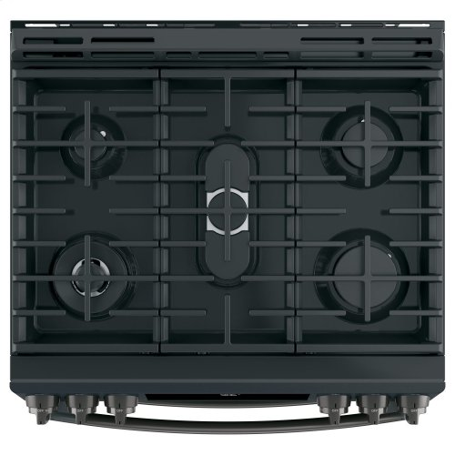 """GE Profile™ 30"""" Slide-In Front-Control Gas Double Oven Convection Range"""