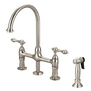 Harding Kitchen Bridge Faucet with Sidespray and Metal Lever Handles - Brushed Nickel Product Image