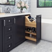 """""""No Wiggle"""" 8"""" Vanity Cabinet Pullout. Featuring Premium Soft-close Slides on the Bottom and Patented Top Mounting Bracket with Heavy Duty Slide on the Top. Eliminates Side-to-Side Movement and Sag. Ships Fully Assembled with Adjustable Dividers and Shelf. Patented 6-way Adjustable Door Mounting Brackets Allows for Easy Mounting of Doors. Species: White Birch with UV Finish. Fits a 9"""" Opening"""