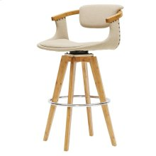 Darwin KD Fabric Bamboo Bar Stool, Stokes Linen/Natural