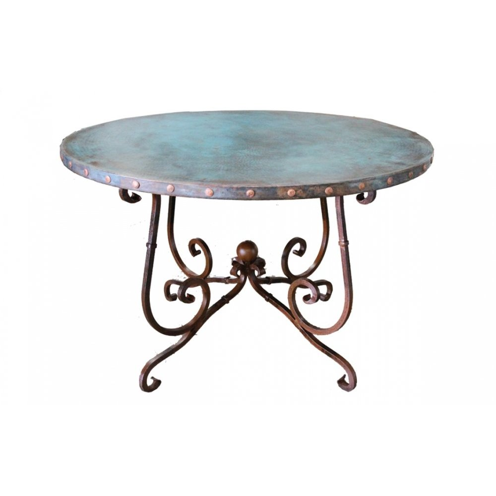 "Factory 4 60"" Turquoise Patina Copper Top with Claves & Wrought Iron Base"