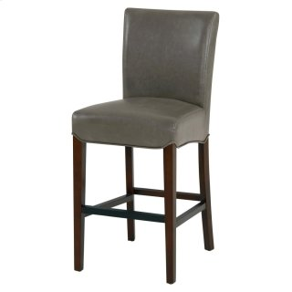 Milton Bonded Leather Counter Stool Wenge Legs, Vintage Gray
