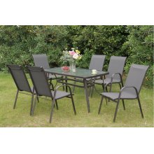 205 / Liz.p10- 7PC OUTDOOR PATIO TABLE SET [P50214(1)+P50114(6)]