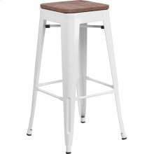 "30"" High Backless White Metal Barstool with Square Wood Seat"