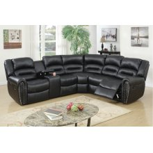 Black Reclining Sectional with Silver Nail Head Trim, Cup Holders and Storage