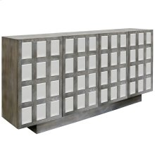 MIDDLETON SIDEBOARD  Washed Gray Finish with Beveled Mirror  4 Door