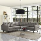 Empress 3 Piece Upholstered Fabric Sectional Sofa Set in Granite Product Image