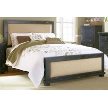 5/0 Queen Upholstered Footboard - Distressed Black Finish