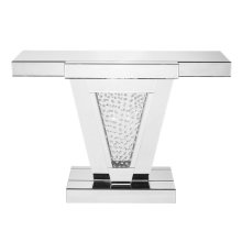 47 inch Rectangle Crystal Console Table in Clear Mirror Finish