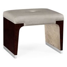 Black Eucalyptus Dressing Stool, Upholstered in Grey Leather