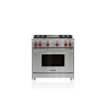 """36"""" Gas Range - 4 Burners and Infrared Griddle"""