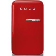 "Approx 16"" 50's Retro Style Mini Refrigerator, Red, Left hand hinge"