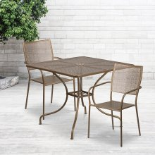 "Commercial Grade 35.5"" Square Gold Indoor-Outdoor Steel Patio Table Set with 2 Square Back Chairs"