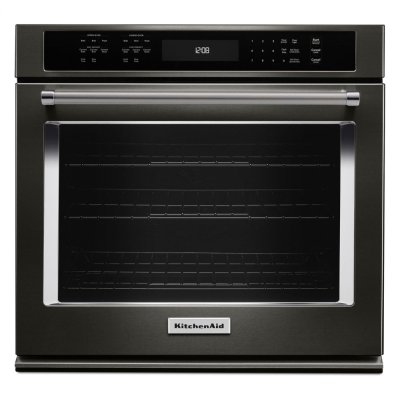 """30"""" Single Wall Oven with Even-Heat True Convection - Black Stainless Steel with PrintShield™ Finish Product Image"""