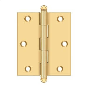 """3""""x 2-1/2"""" Hinge, w/ Ball Tips - PVD Polished Brass Product Image"""