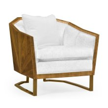 """34"""" Walnut Bookmatched Sofa Chair, Upholstered in COM"""