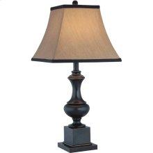 Table Lamp - Dark Bronze/beige Fabric Shade, E27 Type A 150w