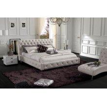Modrest Modern Glossy White Leatherette Bed