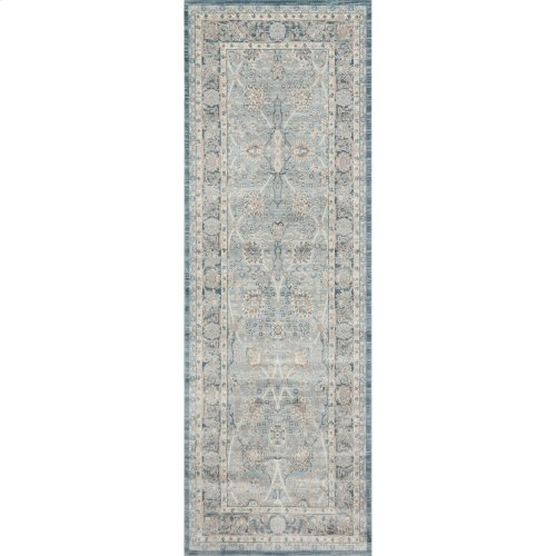 "Ella Rose Light Blue Rug - 2'-8"" X 10'-6"" Runner"
