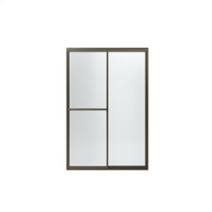 Prevail® Framed Sliding Shower Door with ComforTrack™ Technology - Anodized Deep Bronze with Frosted Glass Pattern Product Image