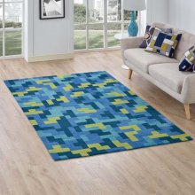 Andela Interlocking Block Mosaic 5x8 Area Rug in Multicolored Blue and Light Olive Green