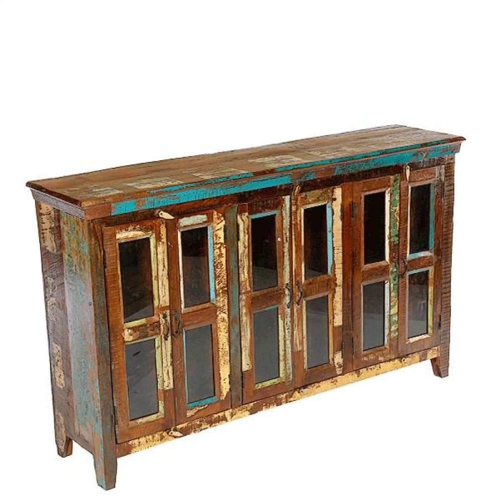 Painted 6 Door W/Glass Sideboard