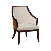 Curved Sonokelling & Rattan Occasional Chair, Upholstered in MAZO