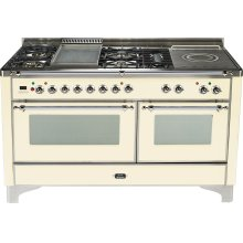 Antique White with Chrome trim - Majestic 60-inch Range with Griddle + French Cooktop