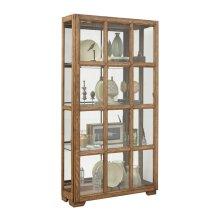 Windowpane Sliding Door Curio Cabinet in Hickory Brown