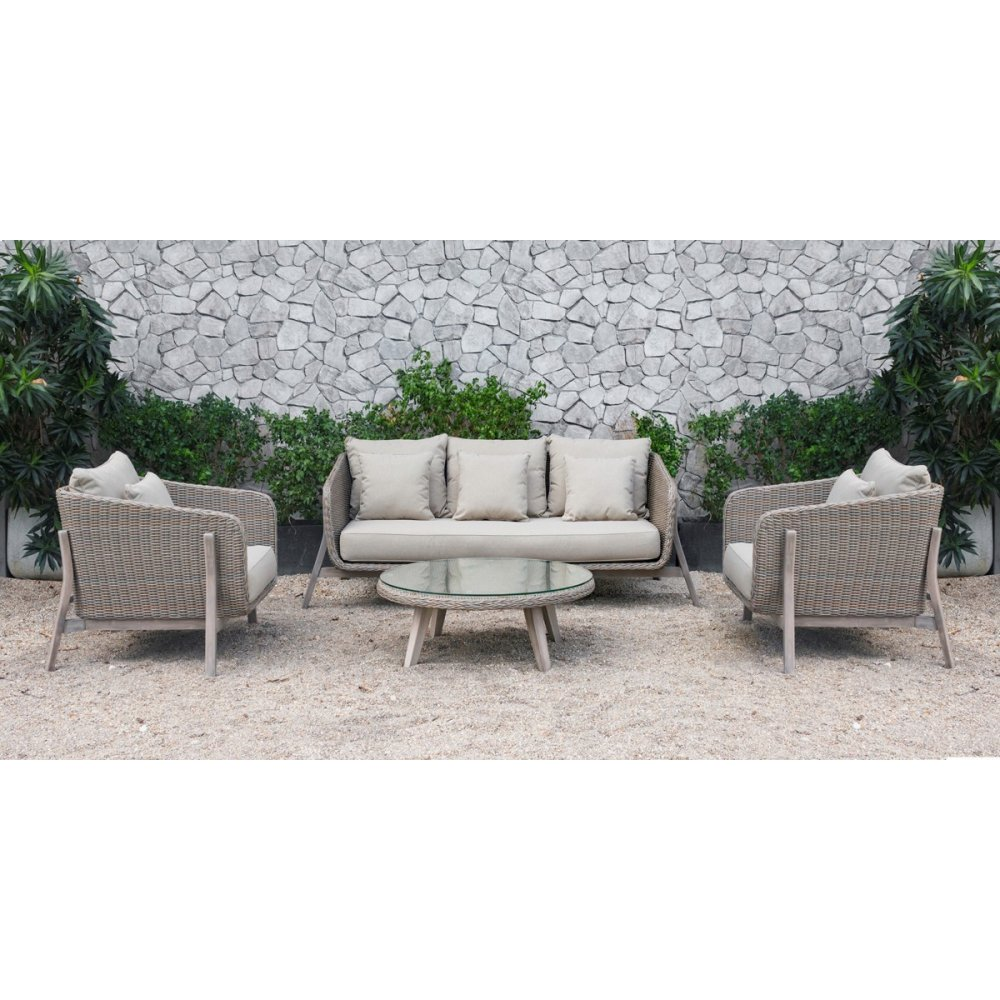 Renava Carillo Outdoor Beige Wicker Sofa Set
