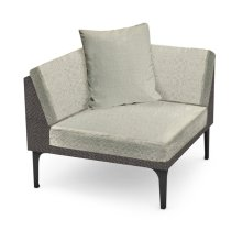 "36"" Outdoor Dark Grey Rattan Corner Sofa Sectional, Upholstered in Standard Outdoor Fabric"