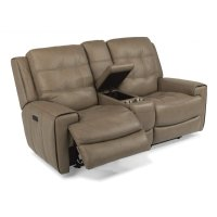 Wicklow Leather Power Reclining Loveseat with Console and Power Headrests Product Image