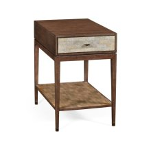 Square Natural Walnut Bedside Table