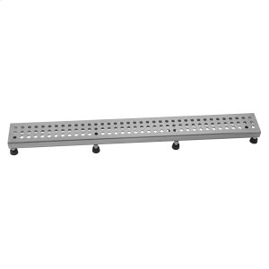"""Brushed Stainless - 48"""" Channel Drain Round Dotted Grate Product Image"""