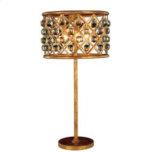 """Madison Collection Table Lamp D:15.5"""" H:32"""" Lt:3 Golden Iron Finish Royal Cut Crystal (Clear)"""